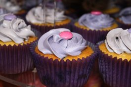 Blueberry cupcakes with blueberry and lemon Swiss meringue icing