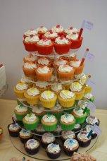 Rainbow cupcake tower
