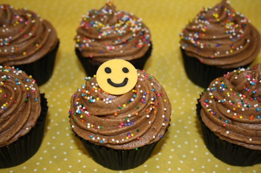 Chocolate smiley cupacakes
