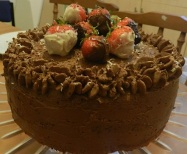 Chocolate and Strawberry cake with Chocolate Ganache and Chocolate Dipped Strawberries