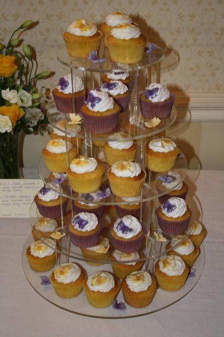 Purple and Yellow cupcake tower