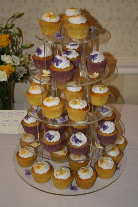 Purple and Yellow cupcake tower