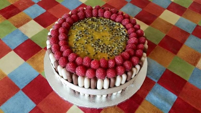 White chocolate raspberry and passion fruit cake