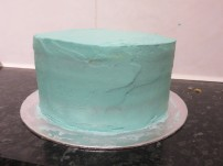 2nd layer of blue buttercream